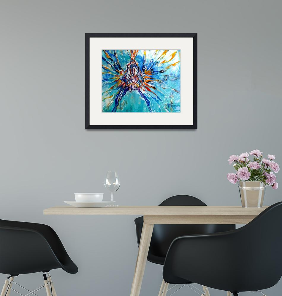 """""""LION FISH BLUE""""  (2013) by MBaldwinFineArt2006"""