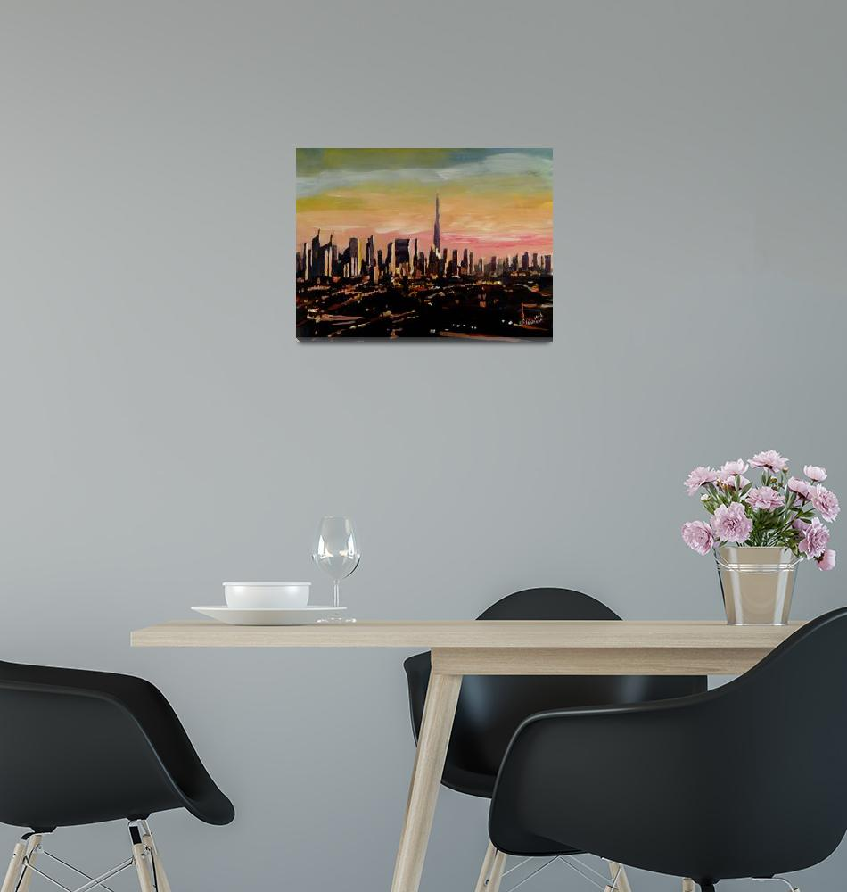 """Dubai Skyline- UAE Emirates Skyline at Dusk""  (2013) by arthop77"