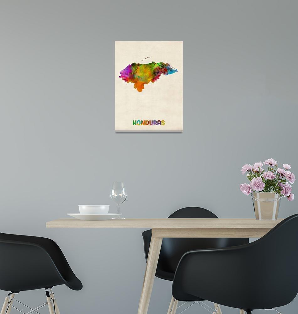 """""""Honduras Watercolor Map""""  (2014) by ModernArtPrints"""