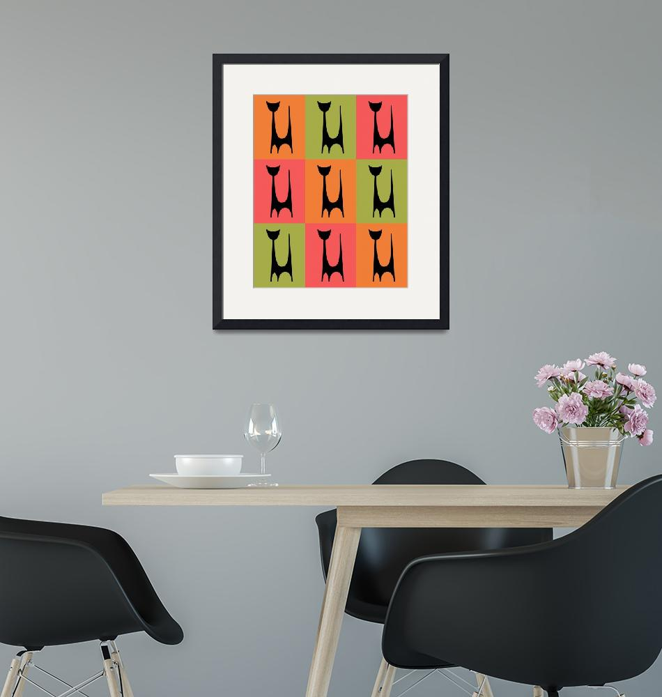 """""""Abstract Cat 1 pink orange green""""  by DMibus"""