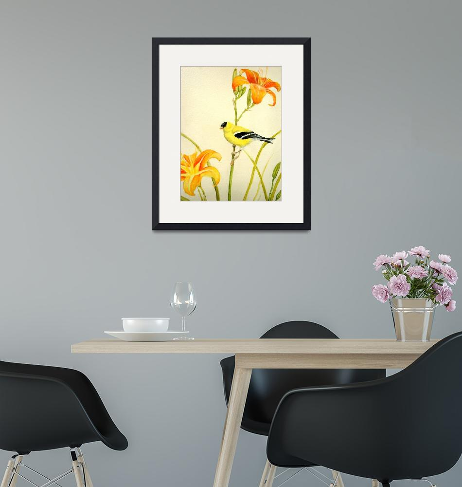 """""""Goldfinch in the Daylilies""""  (2007) by enchantedpath"""