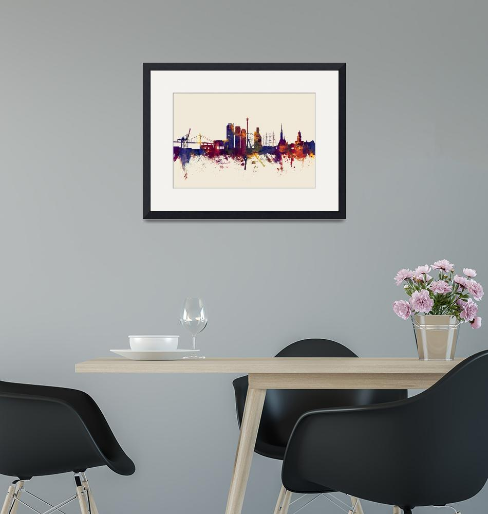 """Gothenburg Sweden Skyline""  (2016) by ModernArtPrints"