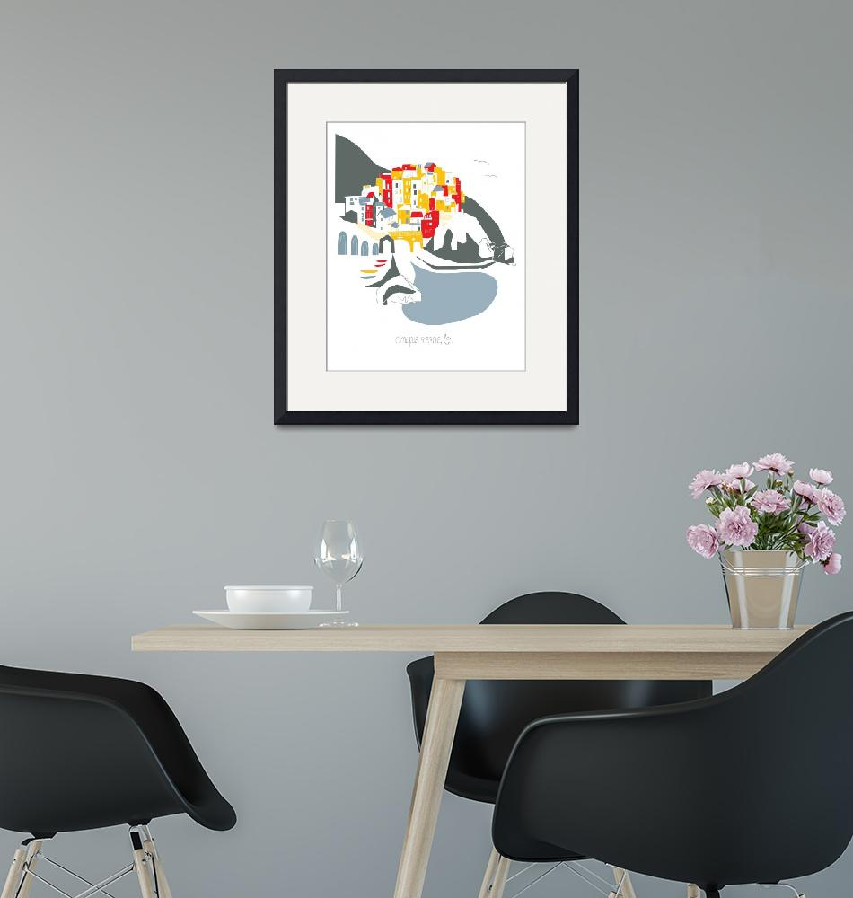 """""""Cinq Terre Modern Cityscape Illustration""""  by AlbieDesigns"""