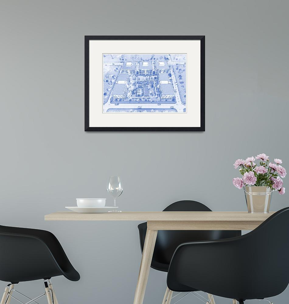 """""""Blueprint Drawing of Modern Apartment Complex No 1""""  by motionage"""