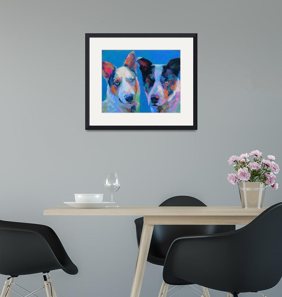 """Bailey n Milka, two aussi, cattle dog mixes""  (2014) by lindbladstudios"