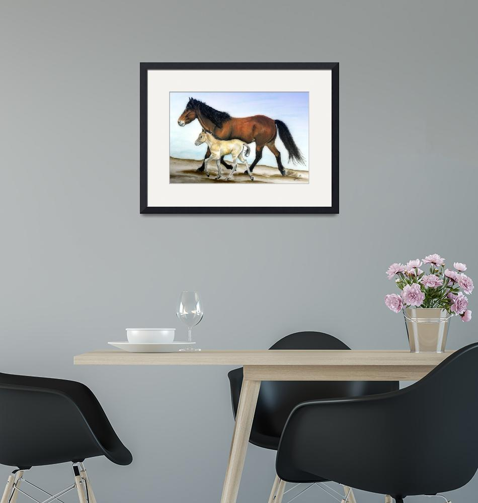 """""""Icelandic mare and foal""""  (2007) by inkandbrushcreations"""