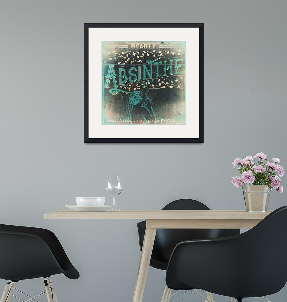 """Deadly Absinthe Vintage Label""  (2018) by MindyDidIt"