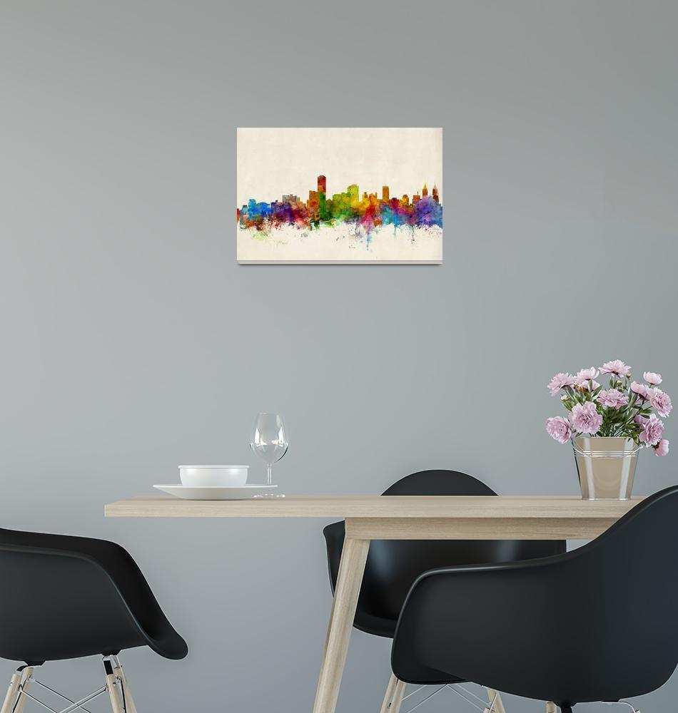 """Adelaide Australia Skyline""  (2013) by ModernArtPrints"