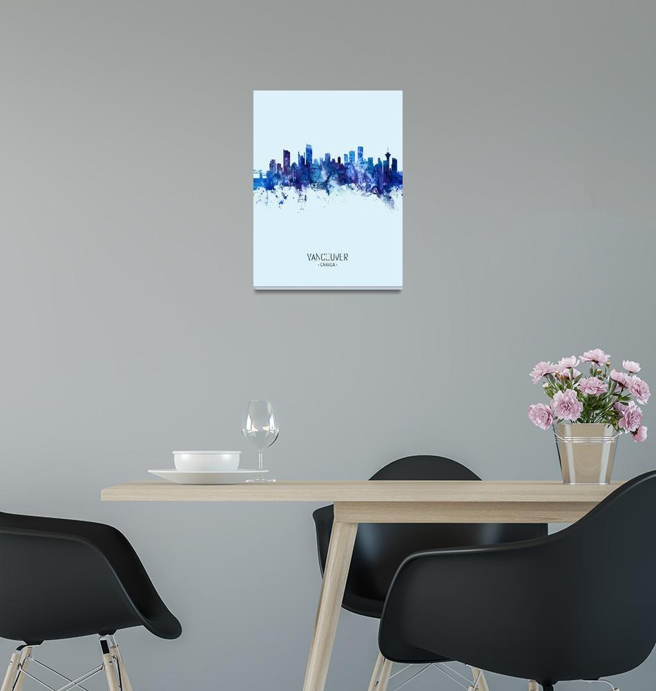 """Vancouver Canada Skyline""  (2019) by ModernArtPrints"