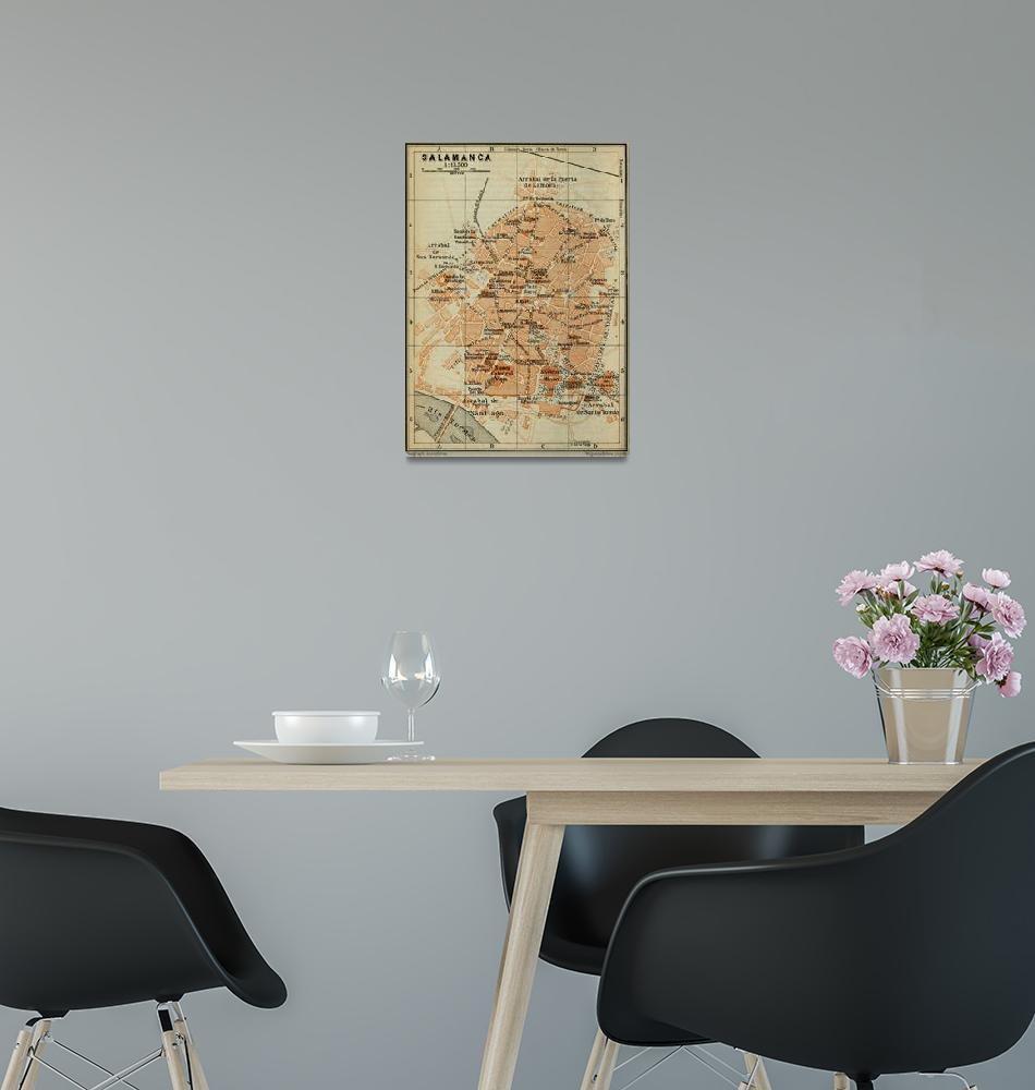 """Vintage Salamanca Spain Map (1913)""  by Alleycatshirts"