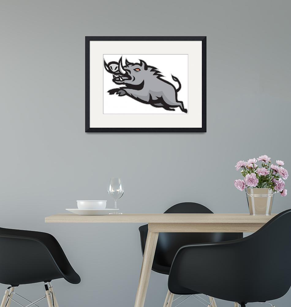 """Wild Pig Boar Jumping Isolated""  (2013) by patrimonio"