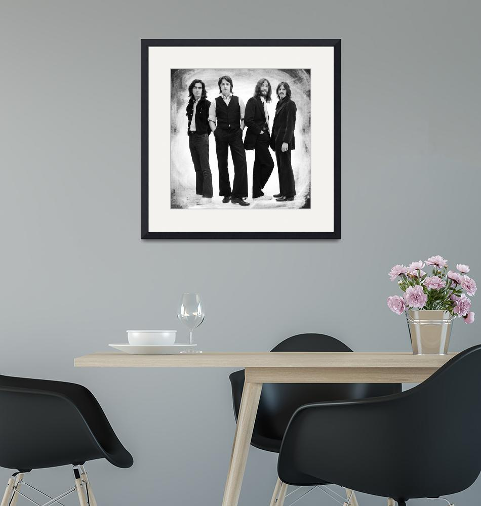 """The Beatles Painting Late 1960s Early 1970s Black""  by RubinoFineArt"