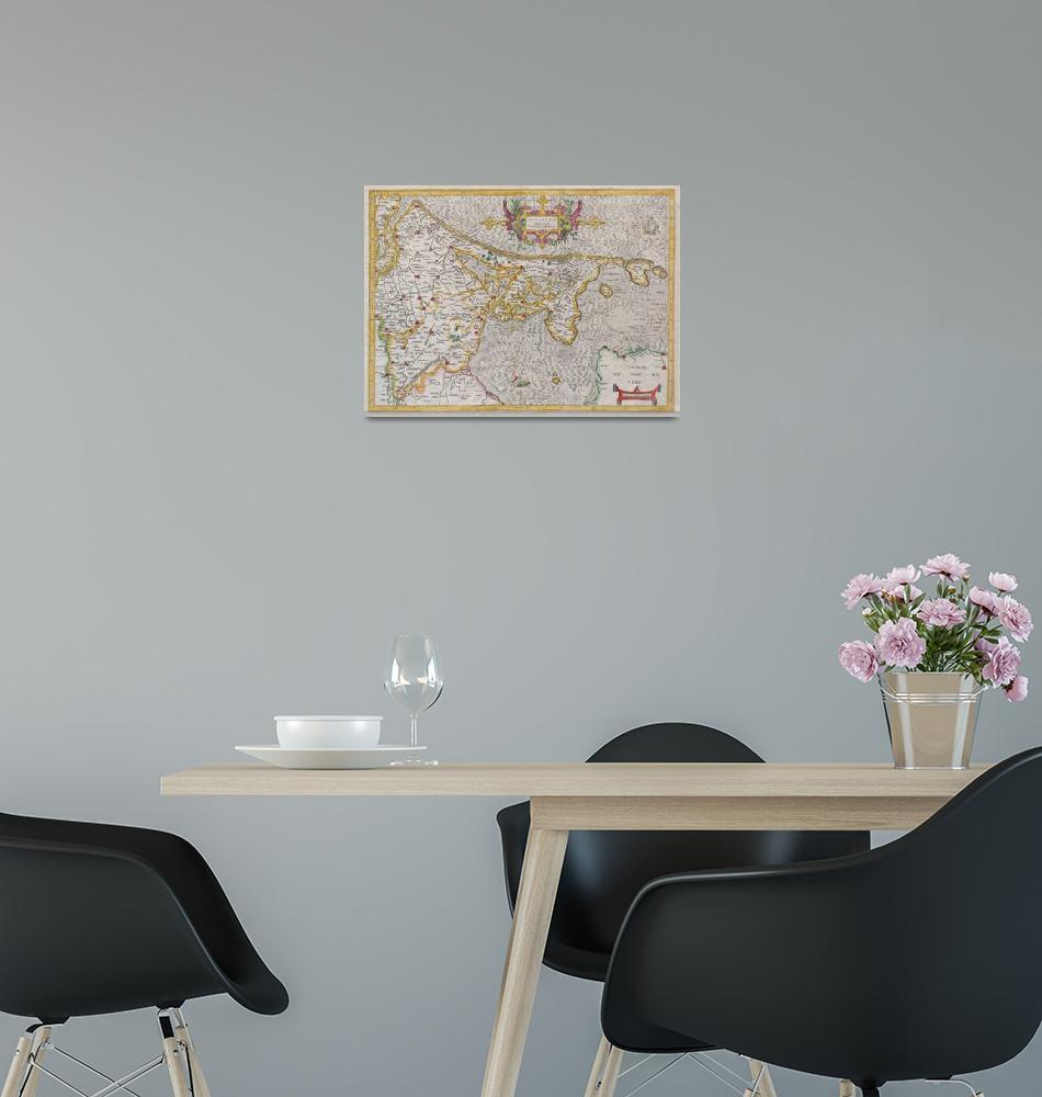 """""""Map of Holland (Netherlands) by Mercator""""  by FineArtClassics"""