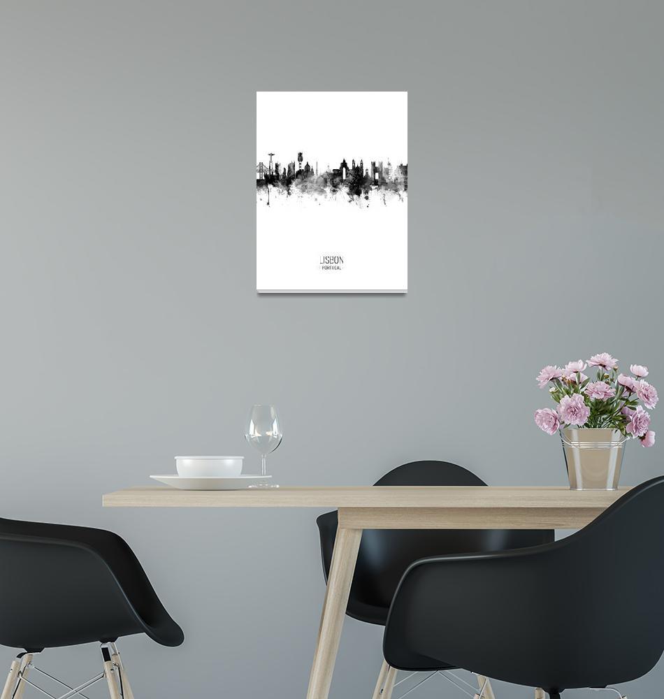 """Lisbon Portugal Skyline""  (2018) by ModernArtPrints"