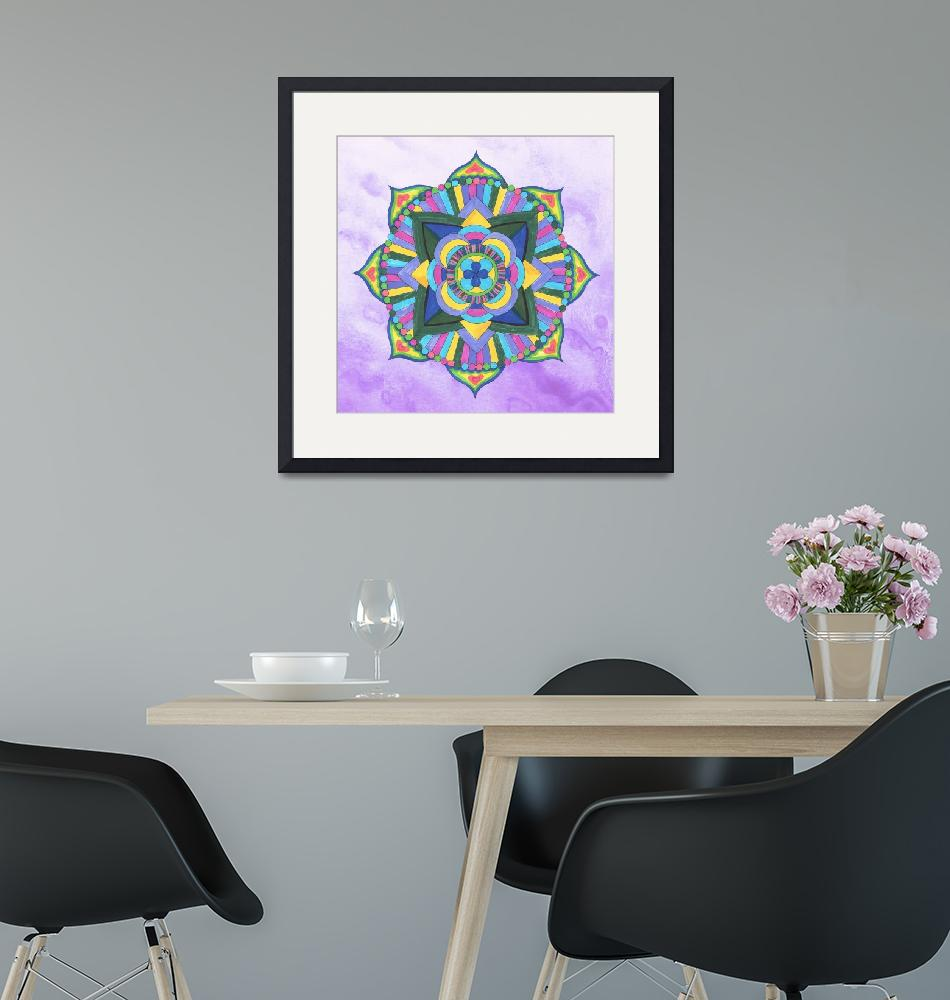 """Mandala Watercolor in Yellow and Purple""  (2019) by IrinaSztukowski"