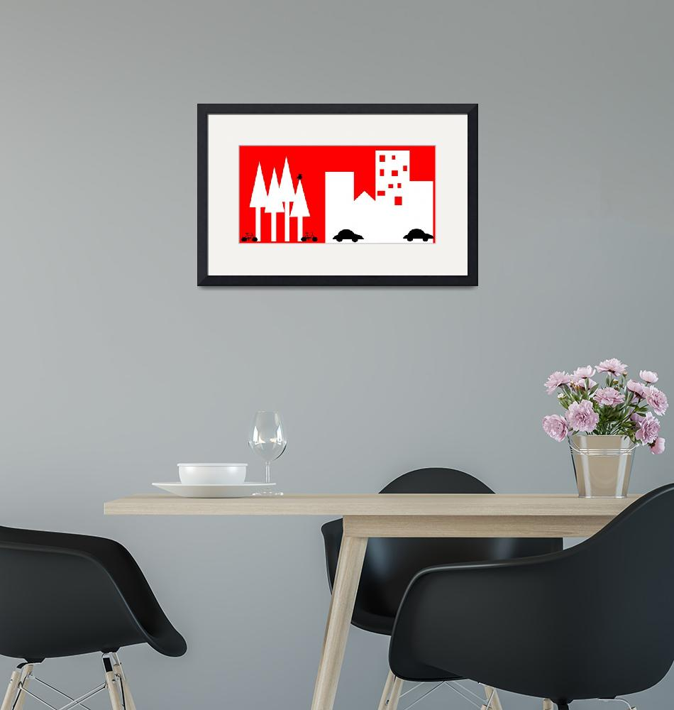 """""""City Scape in Red and White-Digital Folk Art""""  (2015) by TrudyClementine"""