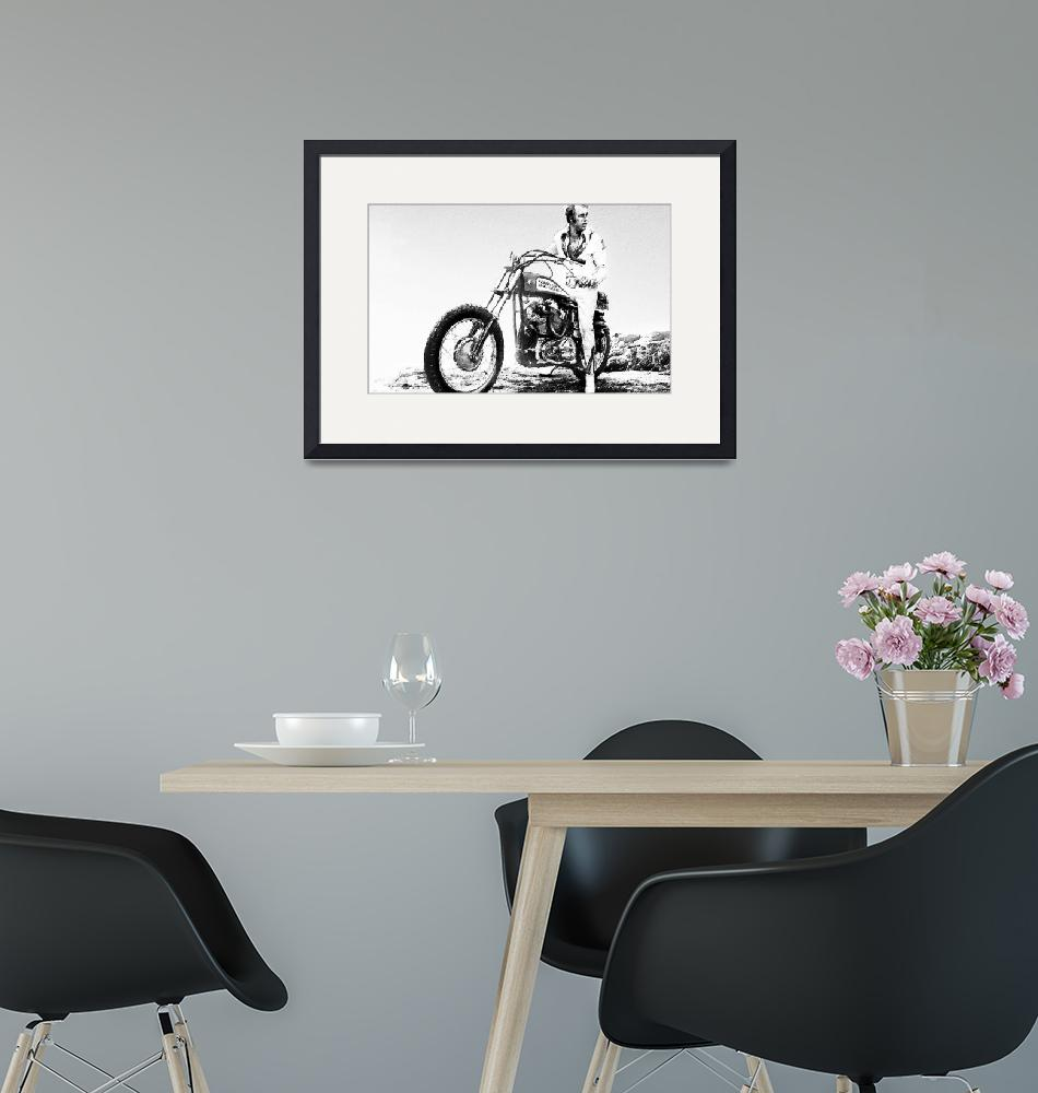 """Evel Knievel Painting Black And White""  by RubinoFineArt"