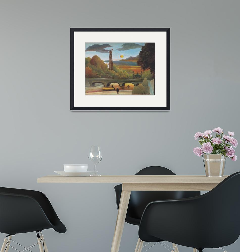"""""""Seine and Eiffel Tower in the Sunset by Rousseau""""  by FineArtClassics"""