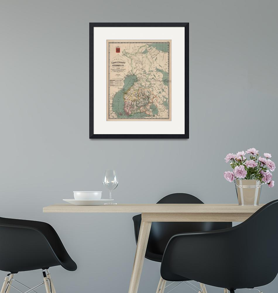 """""""Vintage Map of Finland (1860)""""  by Alleycatshirts"""