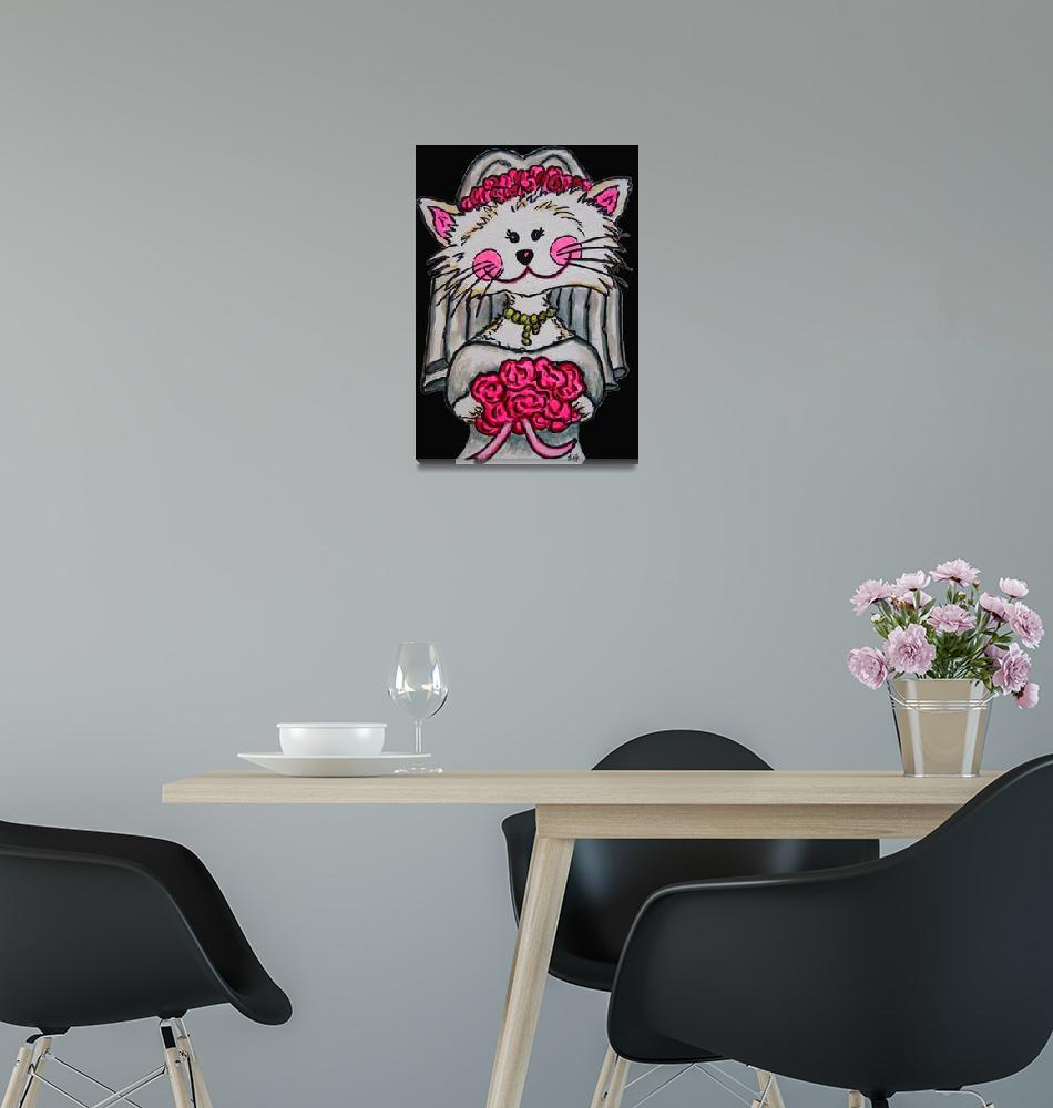"""""""Bride To Be Kitty with Black Background""""  (2007) by LisaLorenz"""