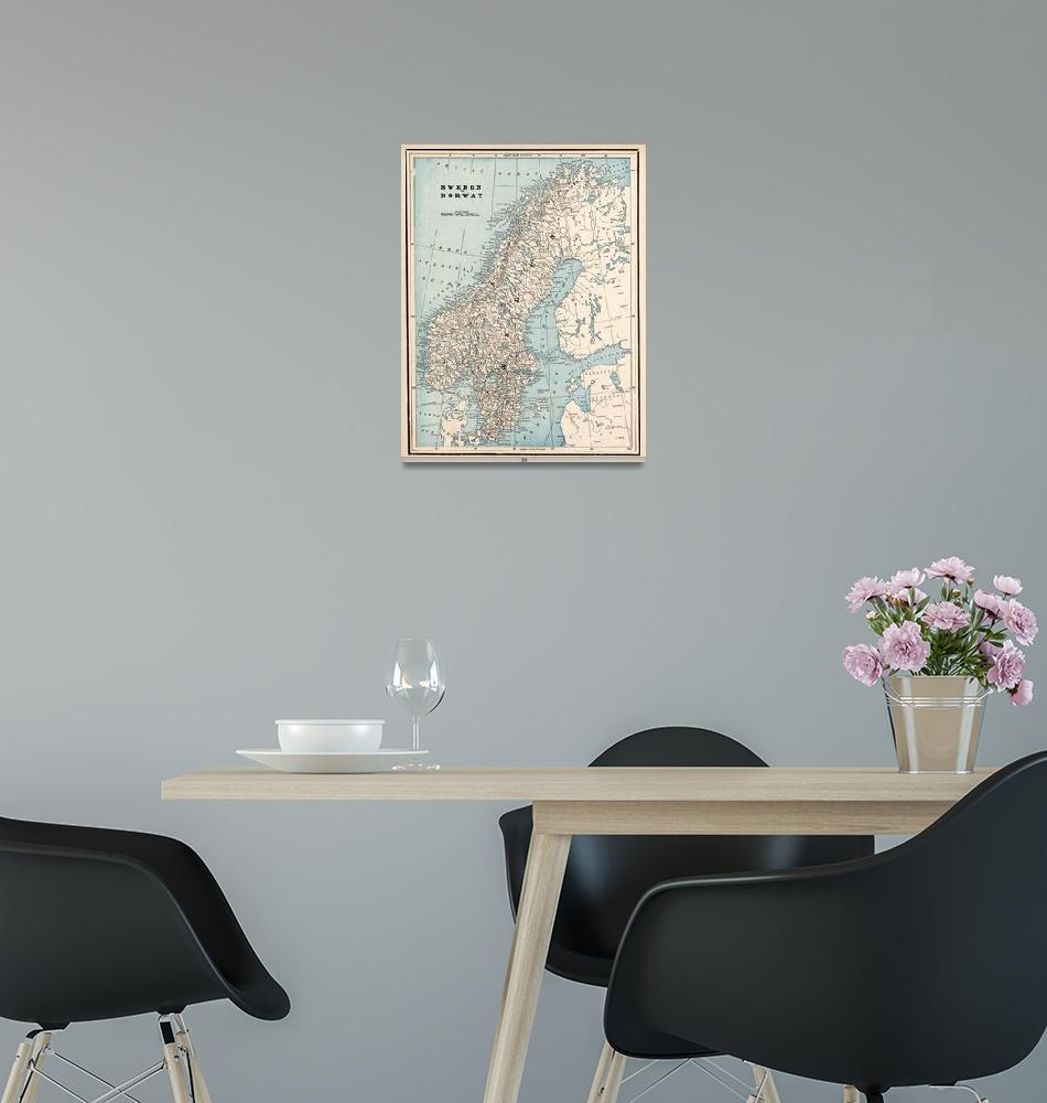 """""""Vintage Map of Norway and Sweden (1893)""""  by Alleycatshirts"""