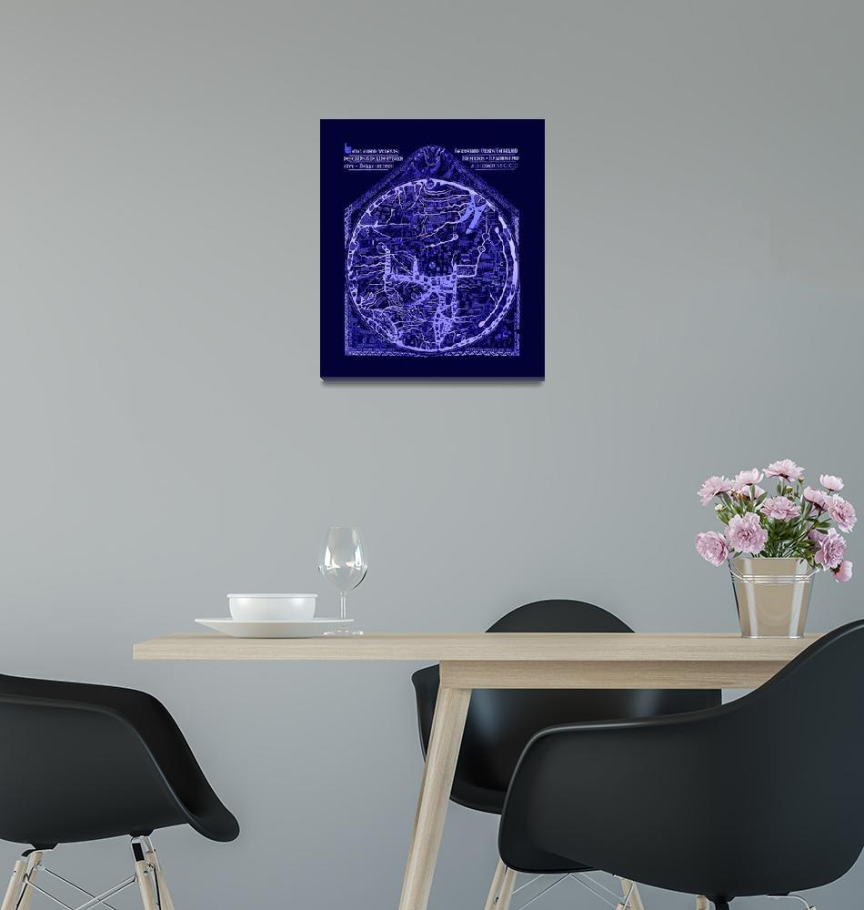 """Hereford Mappa Mundi Latin Text Neg Image Lrg Blue""  (2014) by TheNorthernTerritory"