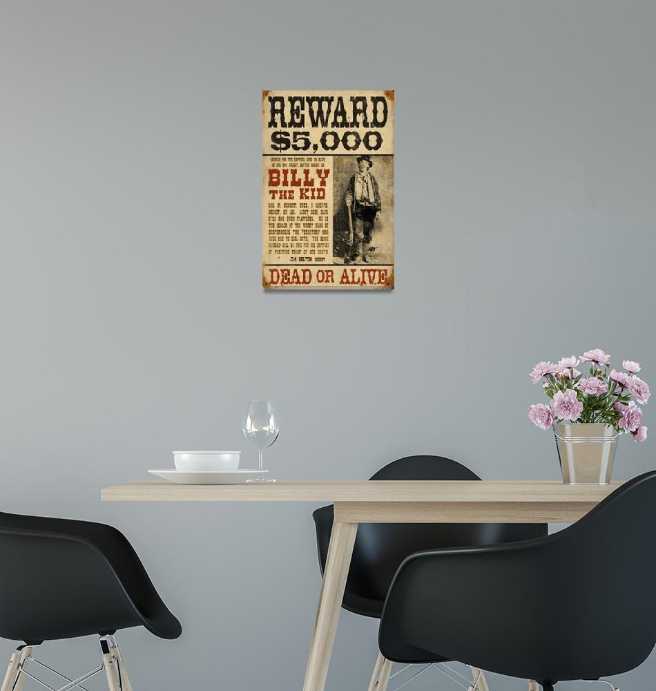 """Billy The Kid Mug Shot Wanted Poster""  (2018) by RubinoFineArt"