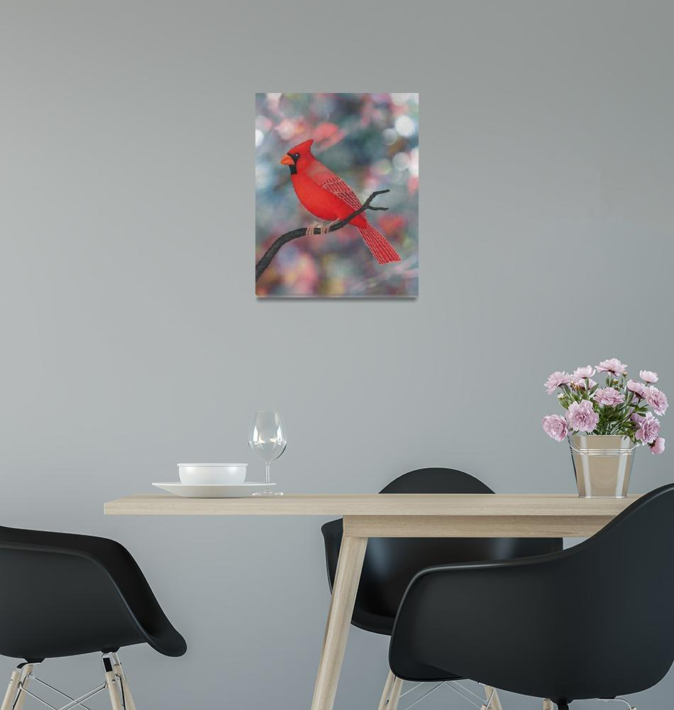 """""""male Northern cardinal bokeh background""""  (2015) by sarahkdesigns"""