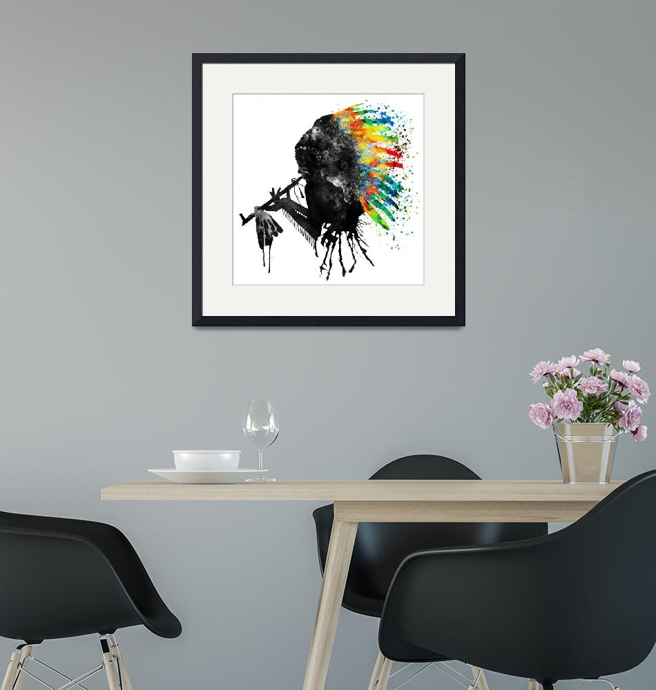 """""""Indian Silhouette With Colorful Headdress"""" (2017) by MarianVoicu"""