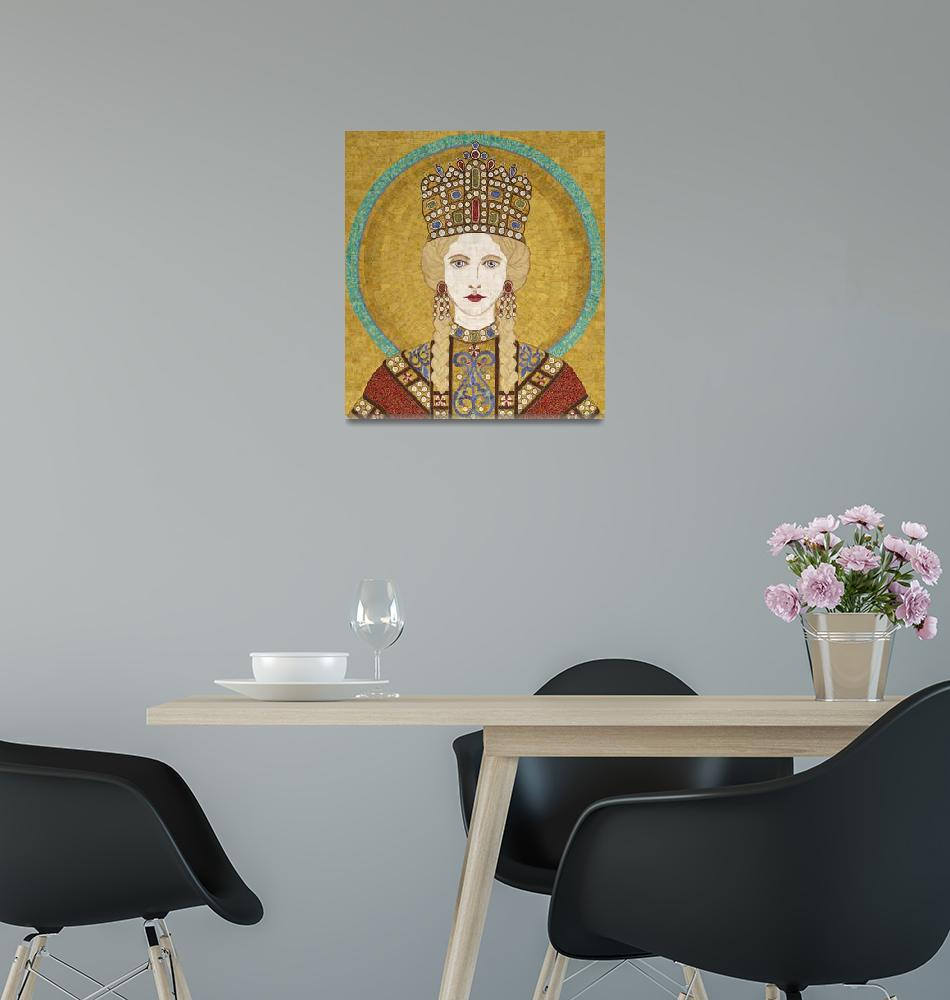 """""""Empress Irene of Byzantiumm- fabric mosaic""""  (2013) by RemnantWorks"""