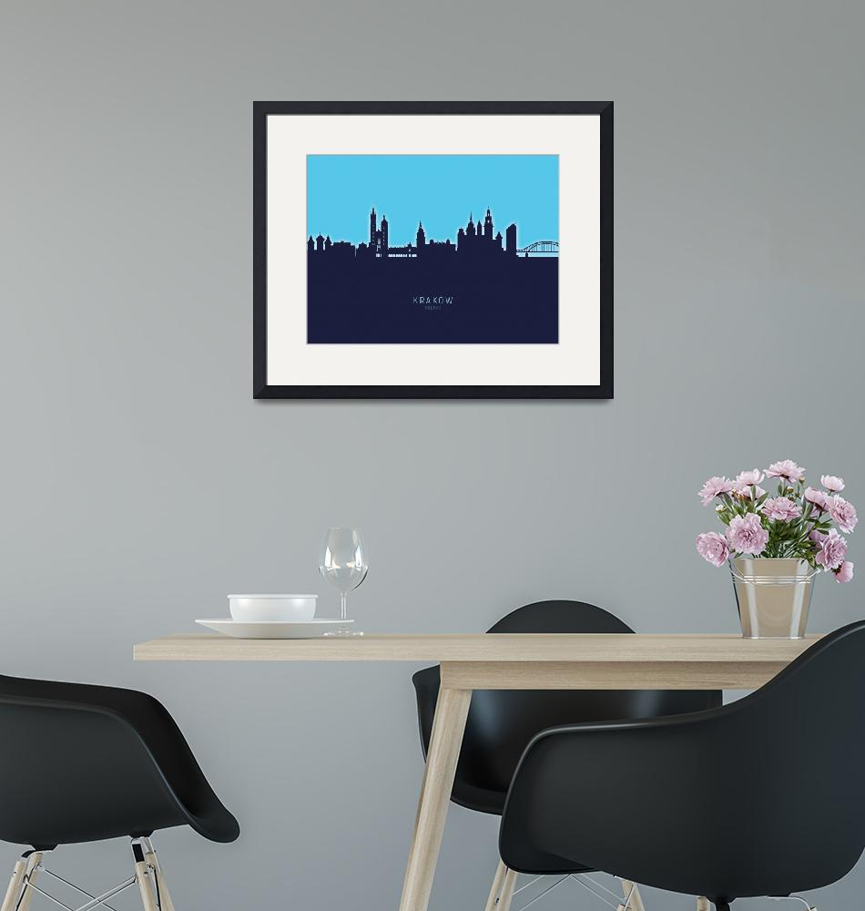 """Krakow Poland Skyline""  (2020) by ModernArtPrints"