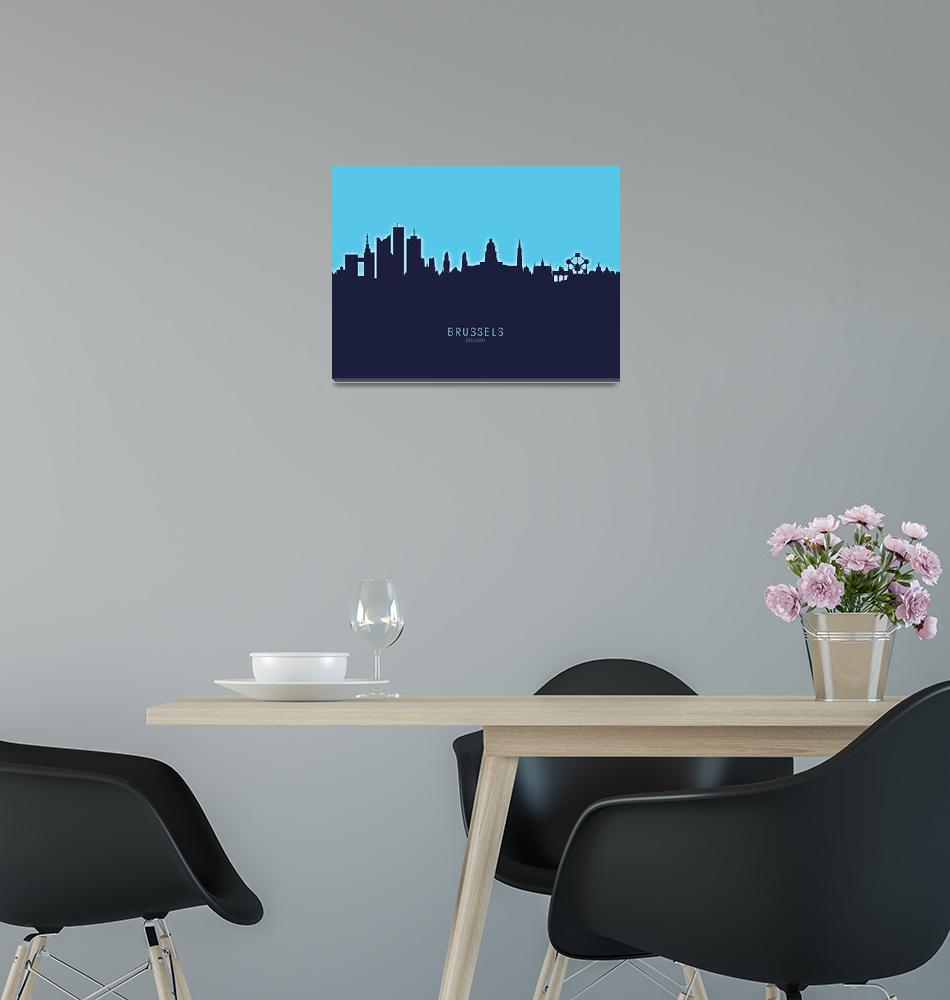 """Brussels Belgium Skyline""  (2020) by ModernArtPrints"