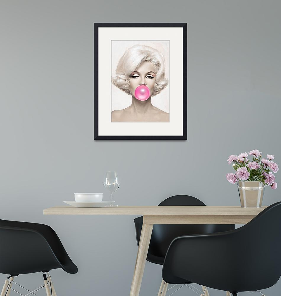 """Classic Bubble Gum Shot of Marilyn Monroe painted""  (2019) by BritishYank"