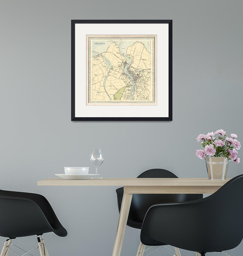 """""""Old Inverness Scotland Map (1912) Vintage Inerness""""  by Alleycatshirts"""