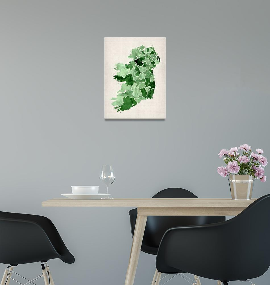 """Ireland Watercolor Map""  (2012) by ModernArtPrints"
