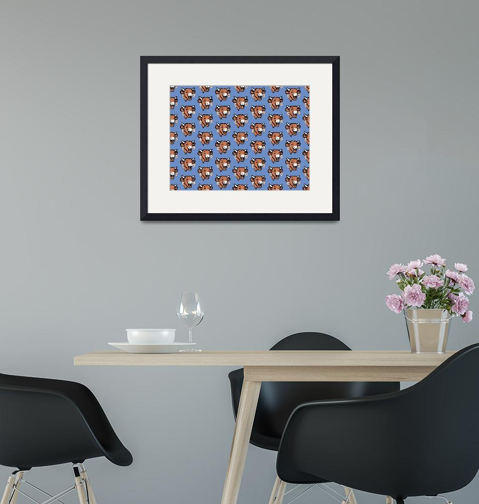 """""""The Laughing Cow Pop 2 - Brown on Blue Wallpaper""""  (2015) by peterpotamus"""