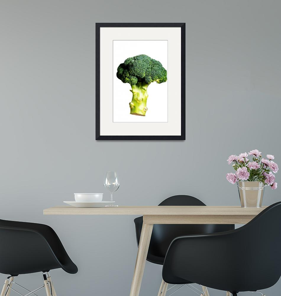 """Green, fresh broccolli over white background."" by Piotr_Marcinski"