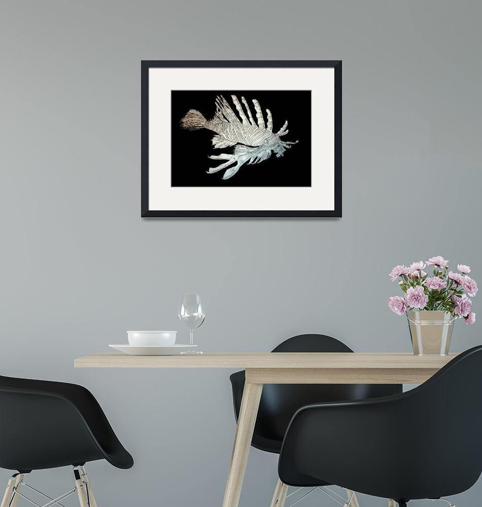 """""""Black and white Lionfish""""  (2008) by Mystia"""