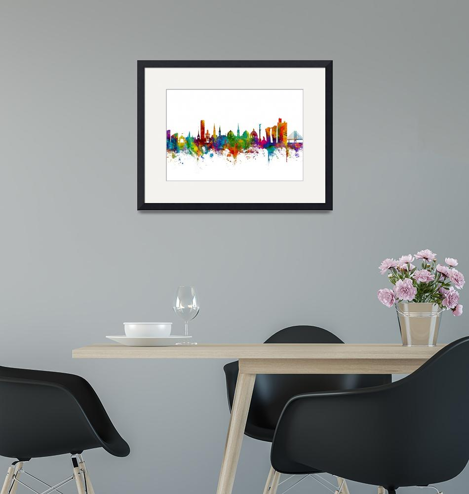 """Copenhagen Denmark Skyline""  (2017) by ModernArtPrints"