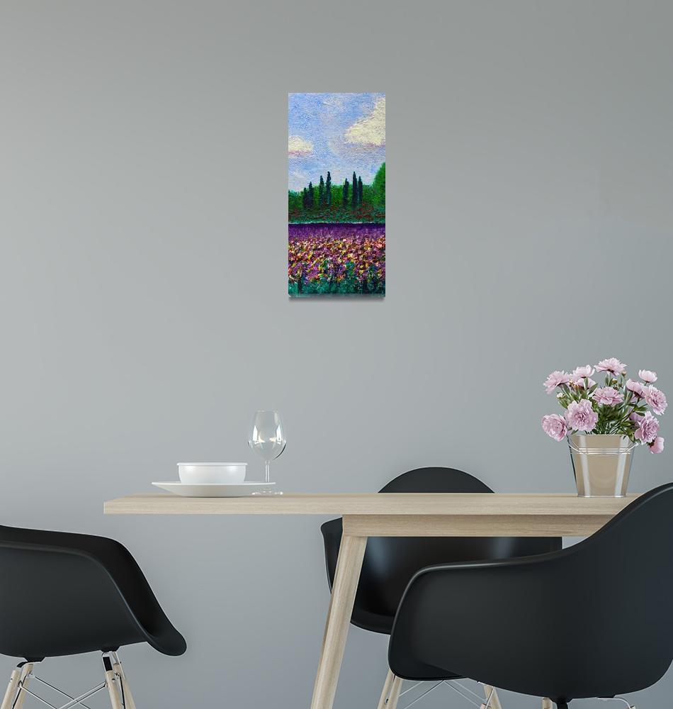 """""""Impressionist Wildflower Field Landscape w1""""  (2014) by Ricardos"""