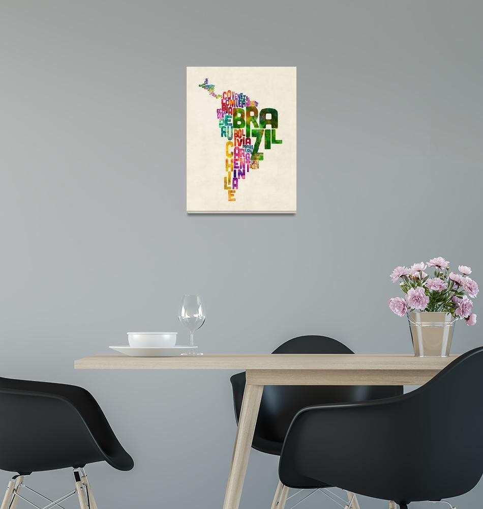"""""""Typography Map of Central and South America""""  (2015) by ModernArtPrints"""
