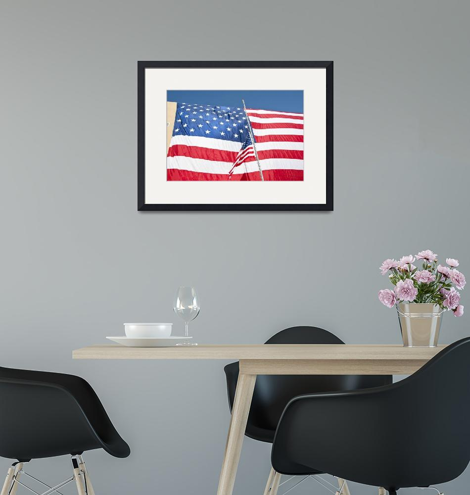"""""""The American flag hangs over a headquarters buildi""""  by stocktrekimages"""