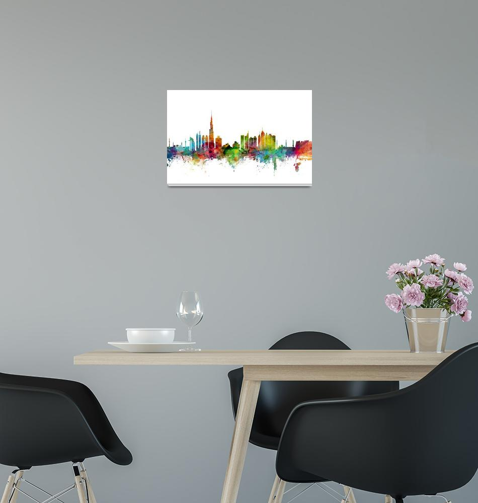 """Dubai Skyline""  (2014) by ModernArtPrints"