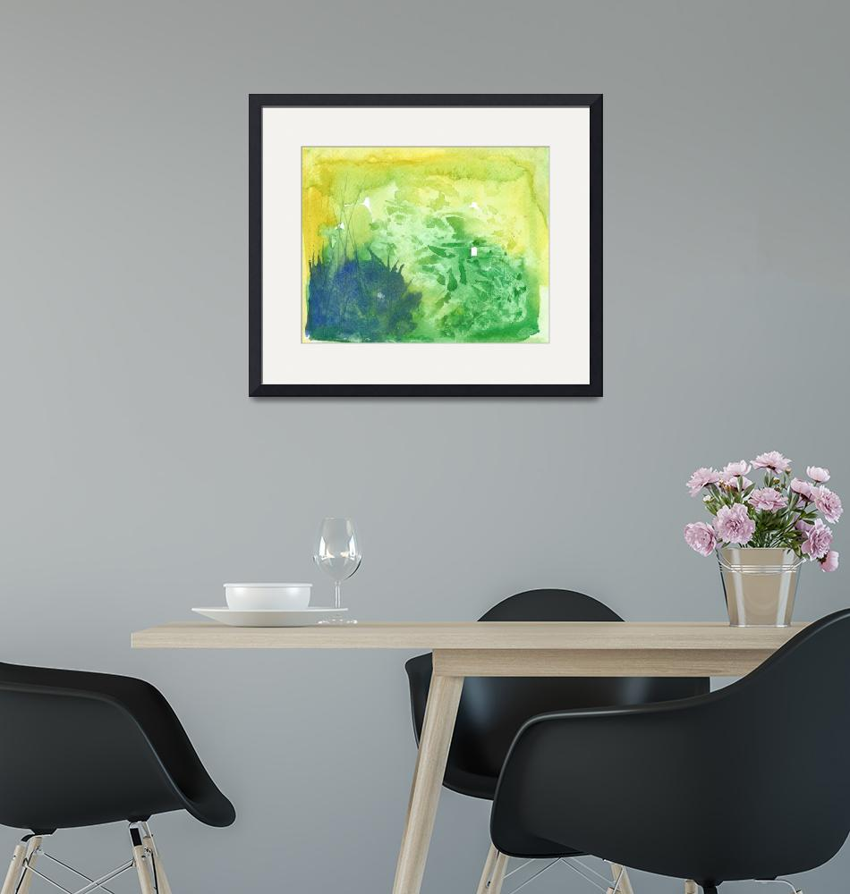 """""""Green Watercolor Abstract""""  (2012) by mistypoe"""