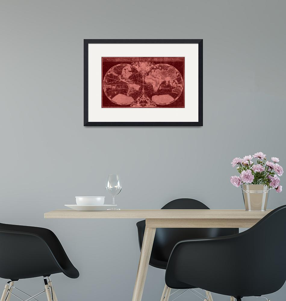 """""""World Map (1691) Red & Light Red"""" by Alleycatshirts"""
