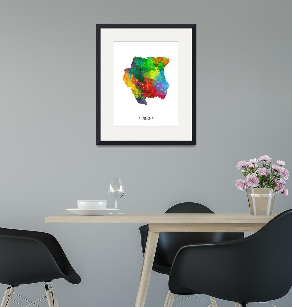 """Suriname Watercolor Map""  (2019) by ModernArtPrints"