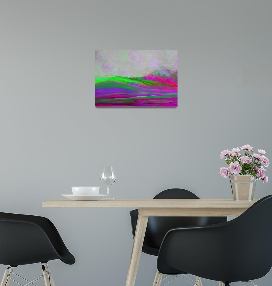 """""""Clouds Rolling Abstract Landscape Purple Hot Pink""""  by EloiseArt"""