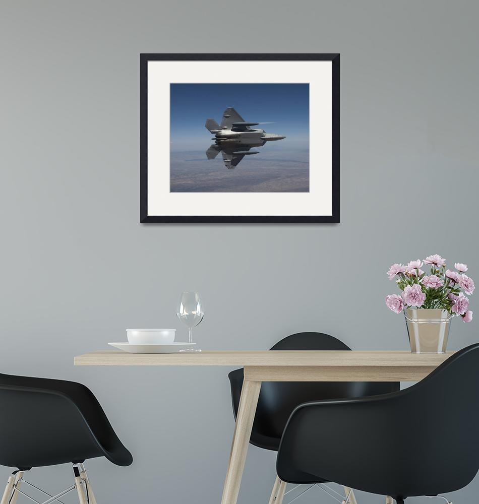 """An F-22 Raptor maneuvers while flying a training m""  by stocktrekimages"
