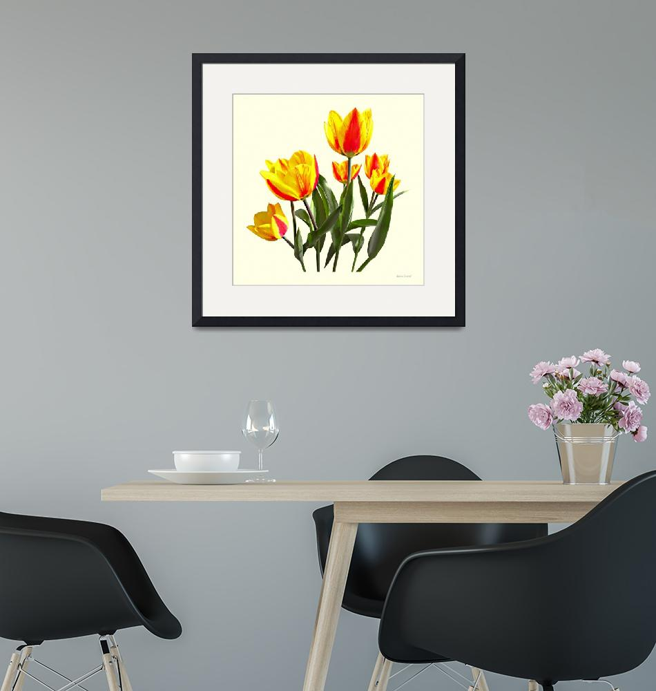 """""""Red and Yellow Striped Tulips""""  by susansartgallery"""