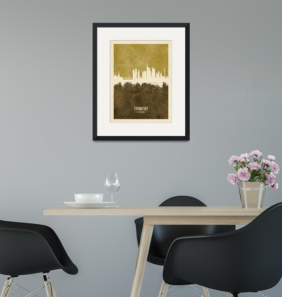 """Frankfurt Germany Skyline""  (2018) by ModernArtPrints"